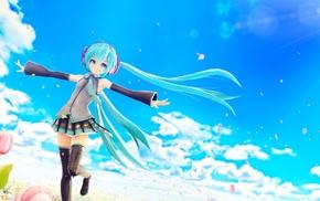 Hatsune Miku, clouds, anime, flowers, blue hair