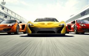 car, McLaren P1, McLaren MP4, 12C, race tracks, motion blur