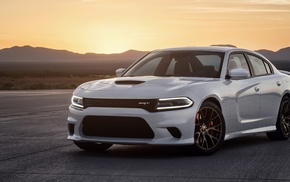 sunset, Dodge, Dodge Charger Hellcat, Dodge Charger, SRT, Dodge Challenger SRT