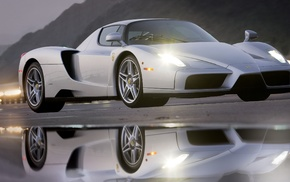 car, reflection, Ferrari Enzo