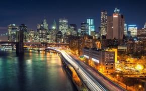 night, New York City, Manhattan, Brooklyn Bridge