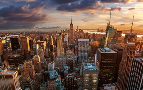 New York City, clouds, city lights, Empire State Building, skyline, city