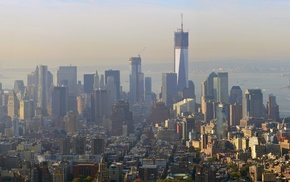 One World Trade Center, skyscraper, city, skyline, Manhattan, New York City