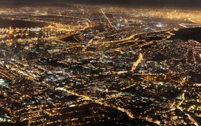 Cape Town, high view, lights, night, South African
