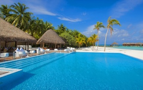 ultrawide, palm trees, swimming pool, sea