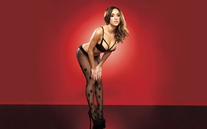 lingerie, big boobs, high heels, Rosie Jones, red background, brunette