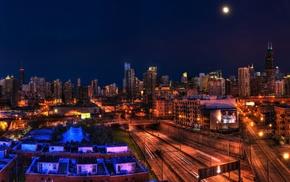 Illinois, night, ultrawide, Chicago, cityscape
