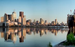 reflection, city, lake, dock