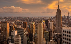 clouds, city, morning, Manhattan, New York City, Empire State Building