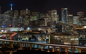 San Francisco, city, night, road, California