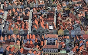 town, street, aerial view, rooftops, architecture