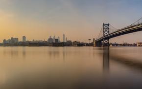 Philadelphia, city, bridge, reflection, morning