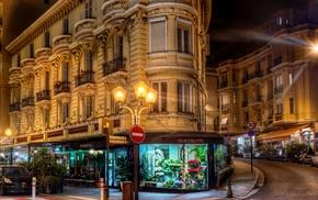 city, Monaco, lantern, street, night