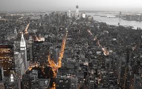 cityscape, lights, panorama, New York City, city, USA