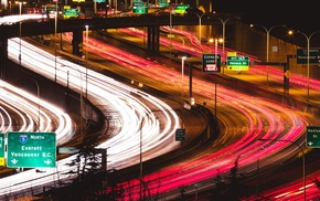 traffic, night, long exposure, city, Freeway