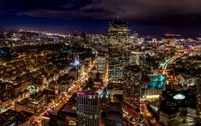 city, night, high view, street light