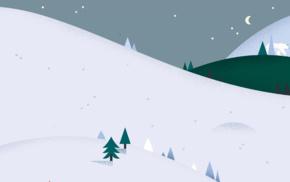 hills, pine trees, polar bears, night, minimalism, snow