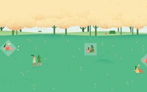 trees, people, minimalism, park