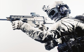 soldier, military, FN SCAR, simple background, tactical, assault rifle