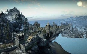 trees, castle, sea, video games, mountains, The Elder Scrolls V Skyrim