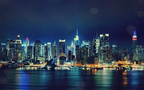 night, New York City, city