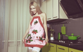 model, stockings, blonde, smiling, apron, standing