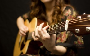 music, girl, guitar