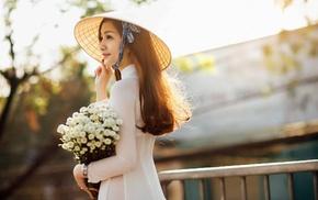 o di, girl, Asian, flowers, vietnamese, nn l