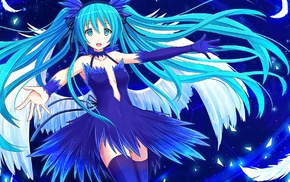 open mouth, Vocaloid, aqua hair, thigh, highs, anime