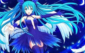 open mouth, Vocaloid, aqua hair, thigh, highs, anime