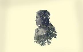 trees, girl, nature, Photoshop, double exposure