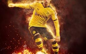 footballers, mkhitaryan, fire, Borussia Dortmund, Bundesliga