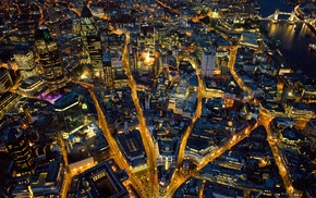 London, city lights, England, road, cityscape, city
