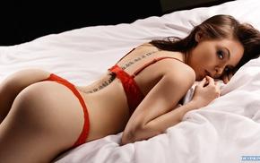 ass, sensual gaze, red lingerie, looking at viewer, tattoo, back