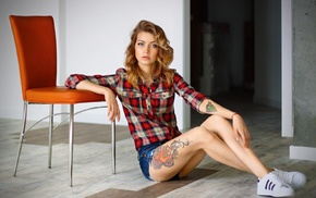 on the floor, sitting, looking at viewer, jean shorts, girl, tattoo