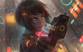 cyberpunk, weapon, anime, science fiction, short hair, rain