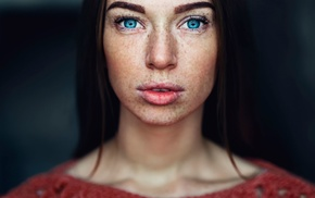 face, looking at viewer, freckles, girl, blue eyes, brunette