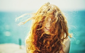 face, sunlight, girl, freckles, curly hair, windy