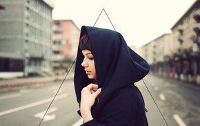 girl, dyed hair, hoods, street, triangle