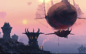 fantasy art, video games, World of Warcraft, horde, World of Warcraft, airships