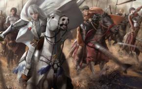 Berserk, Griffith, Black Swordsman, Casca, battle, Guts