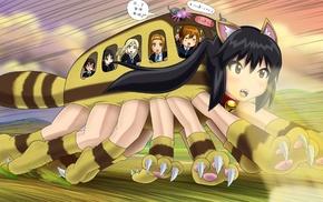 dark hair, Tainaka Ritsu, animal ears, Hirasawa Yui, My Neighbor Totoro, parody