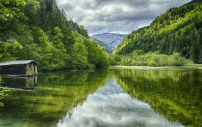 green, landscape, water, nature