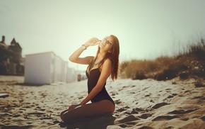model, sunlight, kneeling, sand, girl outdoors, girl