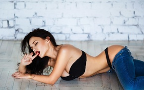 lingerie, thong, pants down, strapless bras, model, on the floor