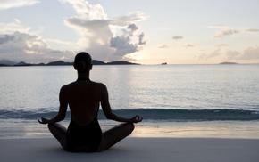 beach, yoga, sea, girl, meditation