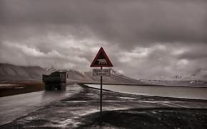 vehicle, signs, road, landscape
