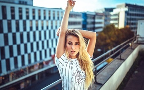 arms up, girl, blonde, rooftops, urban