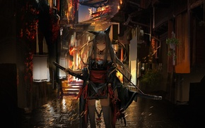 Pixiv Fantasia, sword, long hair, Japanese clothes, anime girls, anime