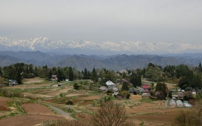 rural, peaceful, spring, Japan, landscape, mountains
